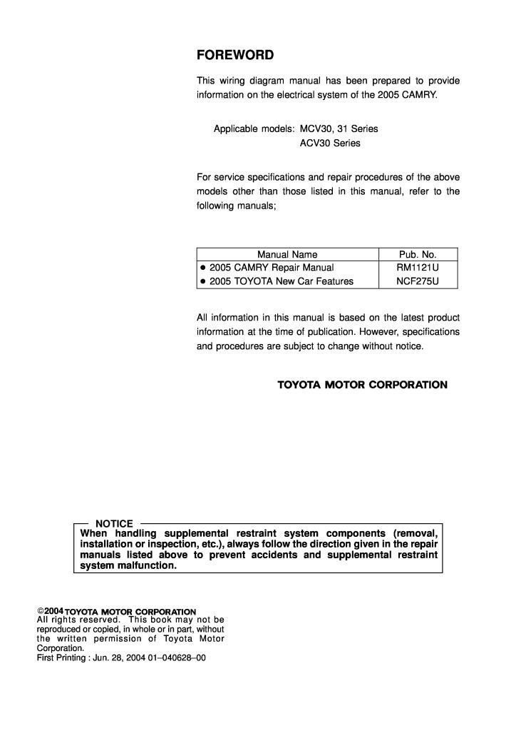 2005 Toyota Camry Ewd586u Electrical Wiring Diagram Manual Pdf  3 68 Mb