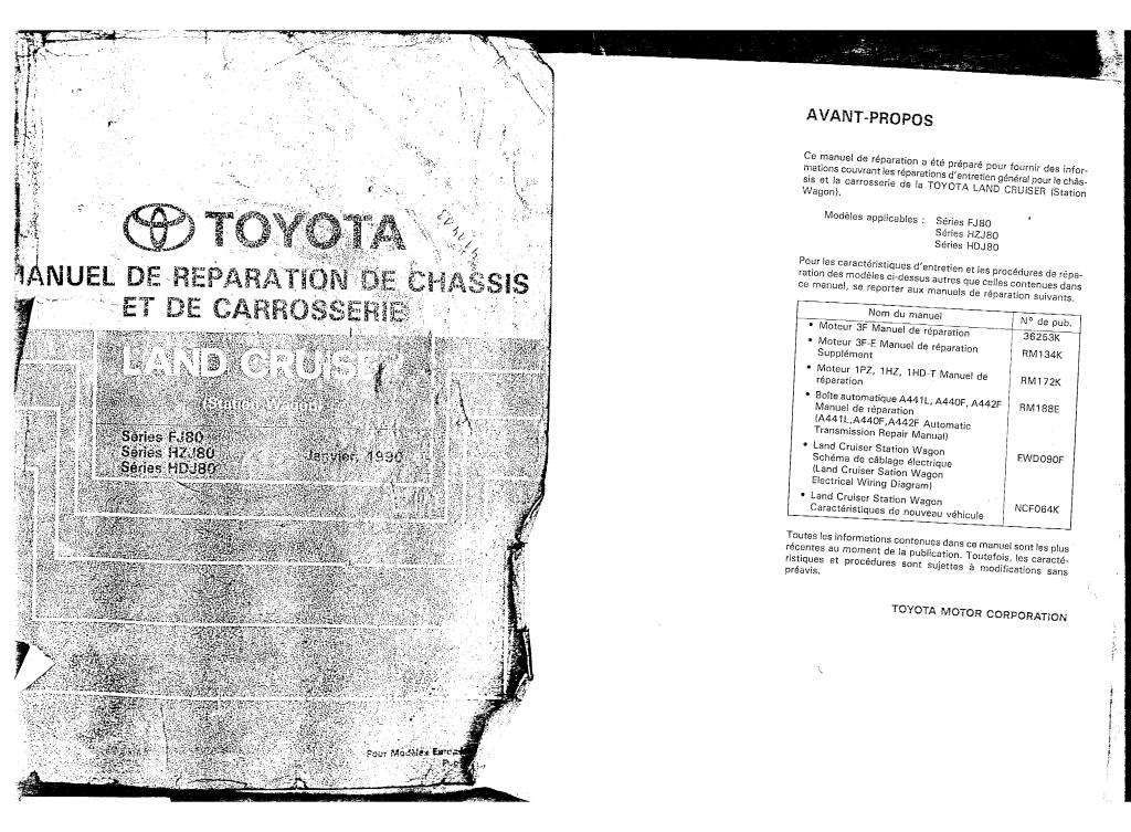 1990 land cruiser chassis body service manual serie fj80 francais pdf  44 2 mb